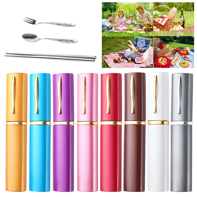 3pcs Outdoor Tableware Sanitary Stainless Steel Chopsticks Fork Spoon For Camping Hiking Travel Ultra-light Picnic Cutlery Set Outdoor Tablewares