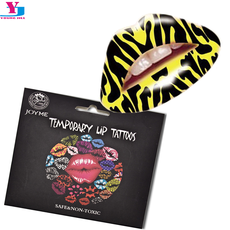 1pcs Leopard Design Waterproof Temporary Tattoo Lip Stickers Flash Tatuagem 3D Hot Girl Front Lip Sticker Printing Review Makeup