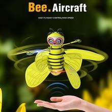 Новое поступление Электрический Летающий Радиоуправляемый датчик пчелы инфракрасный индукционный мини-самолет светодиодный светильник забавные игрушки для детей дропшиппинг