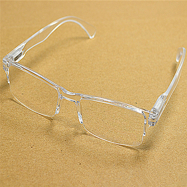 Men Women White Clear Rimless Resin Presbyopia Reader Eyeglasses Plastic Frame Reading Glasses Diopter 1.0 2.0 to 4.0 016