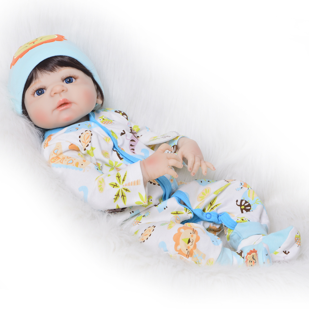 2018 New 23 Inch Full Silicone Vinyl Newborn Doll Lifelike Toys Reborn Baby Doll Children Playmate Gift For Boys Birthday Gift ashtray boys birthday gift