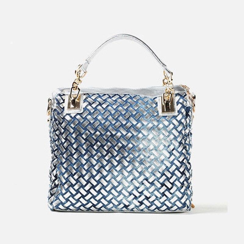 IPinee denim jean décontracté femmes sacs à main designer tissage sacs à bandoulière strass décoratif femmes messenger sac fourre-tout - 4