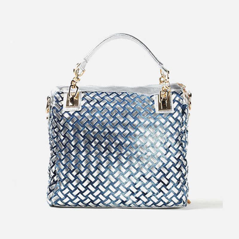 df212ba837 ... iPinee denim jean casual women handbags designer weaving shoulder bags  rhinestone decorative womens messenger bag totes ...