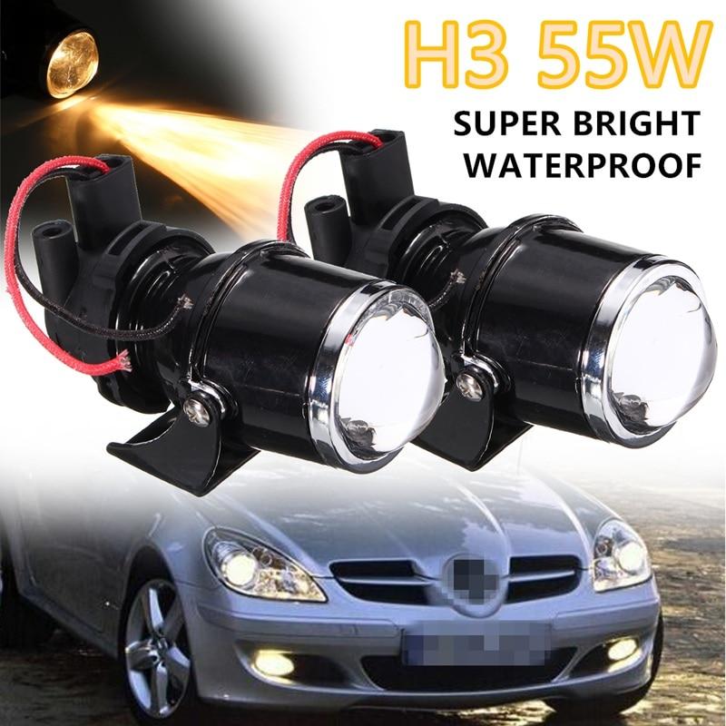 ФОТО 2Pcs H3 55W LED Car DRL Daytime Running Fog Light Clear Len Projector Bulb Bracket Auto Fog Lamp Headlight