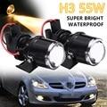 2Pcs H3 55W LED Car DRL Daytime Running Fog Light Clear Len Projector Bulb Bracket Auto Fog Lamp Headlight