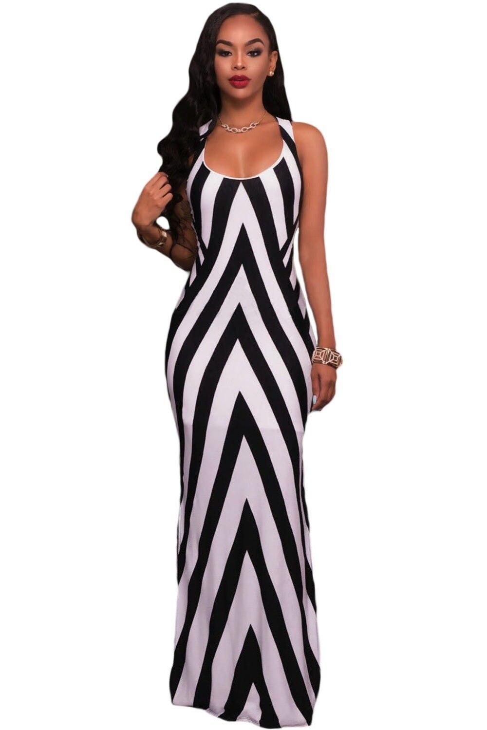 Terence Color Elegant Women Side Split Black And White Striped Maxi ...
