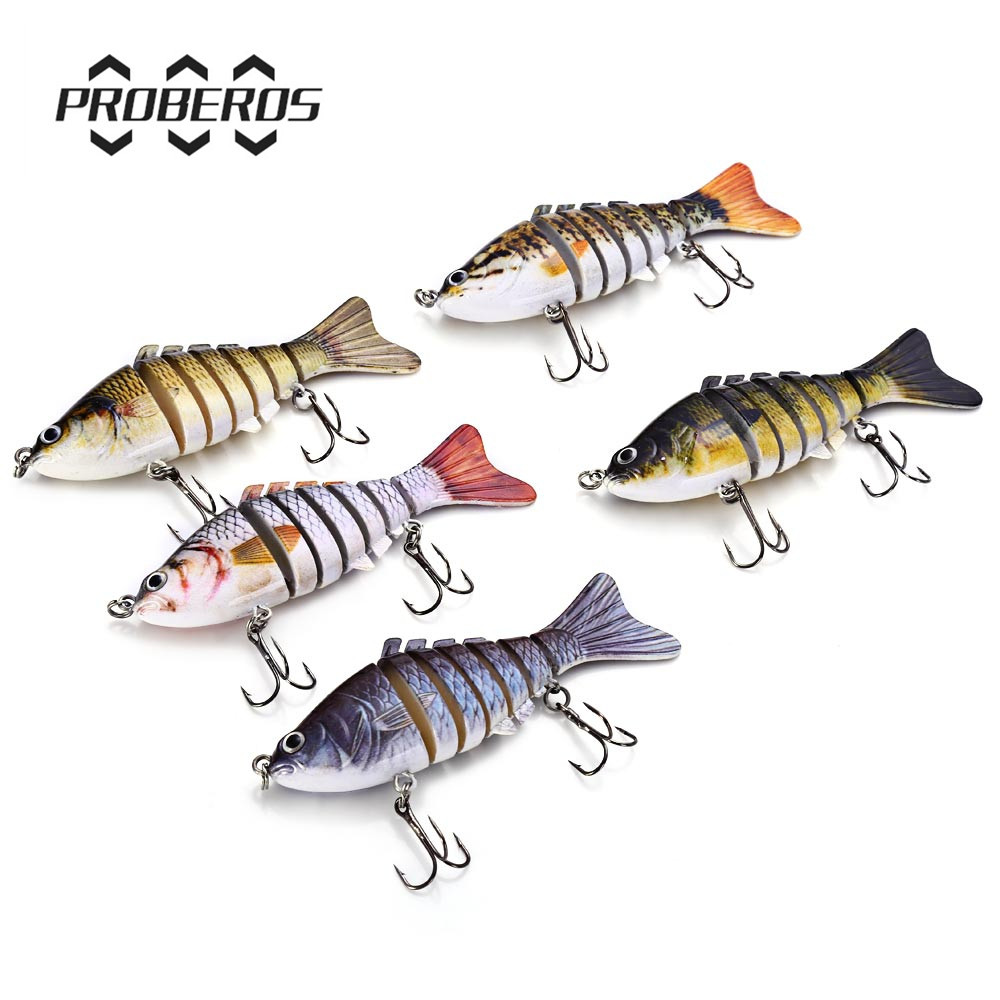 5 Colors 10cm Fishing Lure Treble Hook  Artificial Bait Fishing Lures Hard Bait 7 Jointed Sections Swimbait Fishing Tackle trulinoya carp fishing lure minnow lures bait artificial 88mm 7 2g 3d eyes treble hook hard bait two segments fishing tackle
