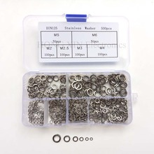 500 Pcs/set M2 M2.5 M3 M4 M5 M6 Stainless Steel Shells Pad Spring Lock Washer Elastic Gasket 304 Curved Washers