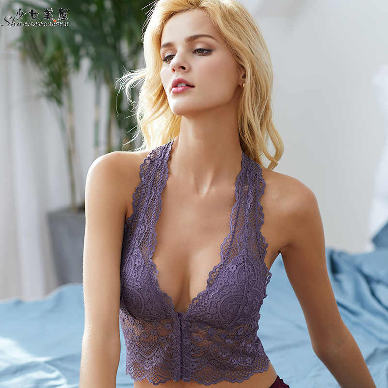 1ccc6a883d6 ... Girls' beauty house sexy summer front button lace without steel ring bra  lingerie thin women's ...