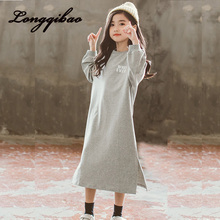 Korean version of the girl's long T-shirt dress Children's 2019 new loose fashion short-sleeved big child dress korean version of slim fashion in the big girl child sweat breathable spring new girl dress for3 13t