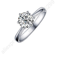 hot deal buy hot one pc classic real pure 925 sterling silver jewelry crystal cubic zirconia cz 6 claws women finger rings nice gift