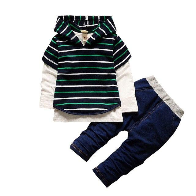BibiCola 3pcs Set Spring Autumn Boys Clothes hooded Vest+ T-shirt+pants Striped Tracksuit Set Hot Sale Baby Boys Clothing Sets