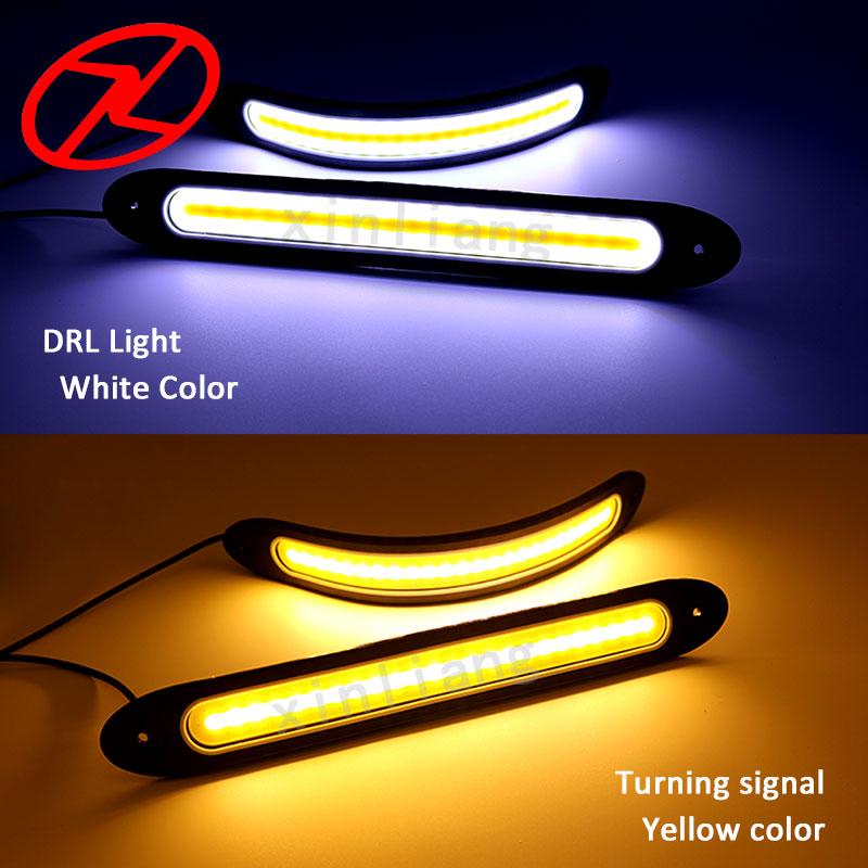 2 pcs Mobil-styling Fleksibel COB LED DRL Tahan Air Daytime Running - Lampu mobil - Foto 2