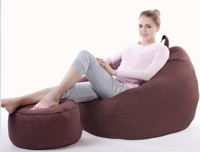 WITH STOOL OTTOMAN custom lazy sofa creative leisure bean bag with pedal personality single sofa couch,COVER ONLY lazy sofa bean bag with pedal creative single sofa bedroom living room lazy stool tatami