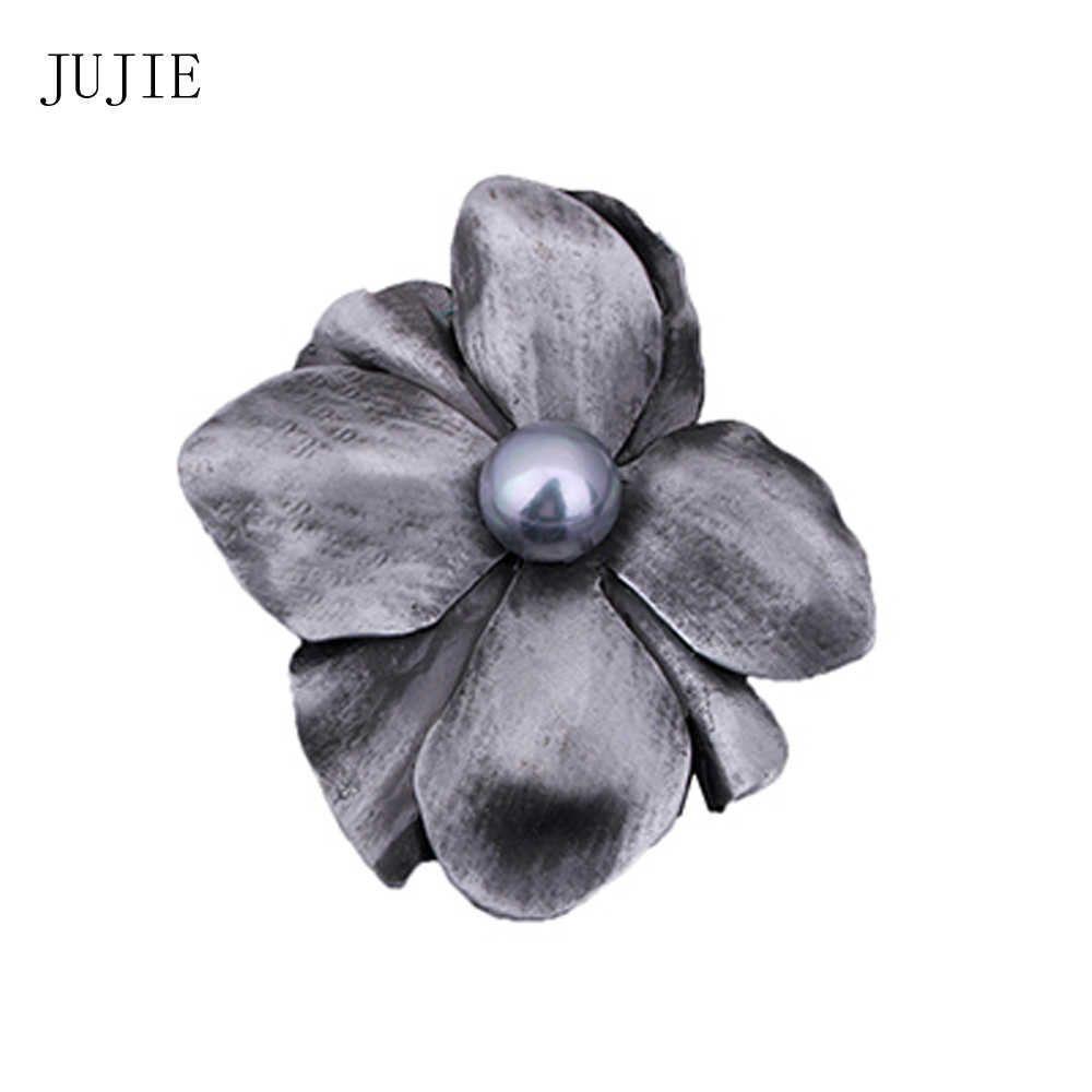 JUJIE Vintage Original Large Pearl Flower Brooches For Women 2019 Classic Retro Original Brooch Pins Plant Jewelry Wholesale