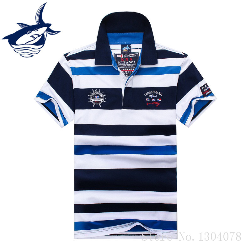 2018 New Arrival Famous Brand Clothing Tace & Shark   Polo   Shirt Men Stripe Fashion Shark Logo   Polos   903