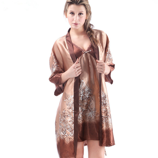 New 2016 Top Sale Women bath robe and Nightgown 2 Piece Sexy Noble Robe Set Bathrobe For Women free shipping pijama set