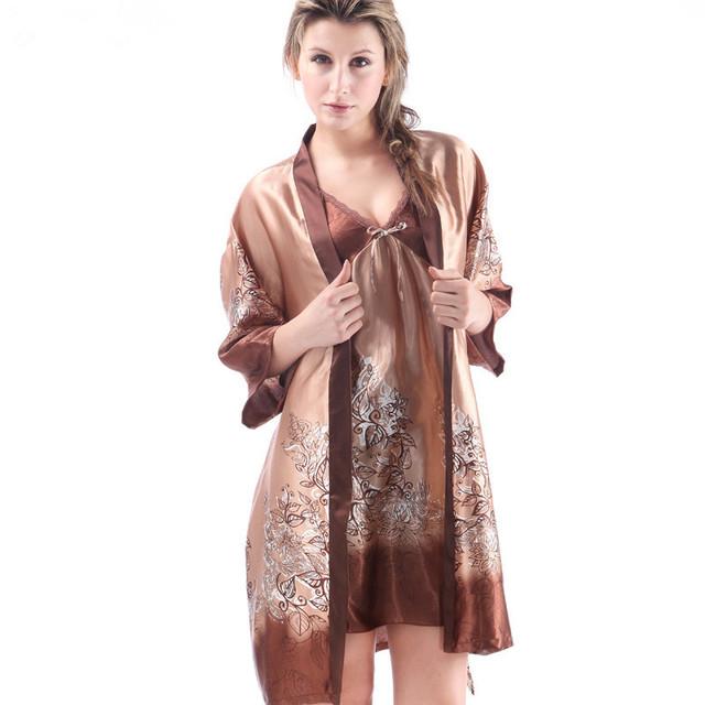 Nuevo 2016 de La Venta Superior Mujeres de baño bata y Camisón 2 Unidades Noble Sexy conjunto pijama Set Albornoz Para Las Mujeres El envío libre
