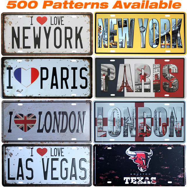 Famous City ] Car American License Plate Vintage Home Decor Tin Sign ...