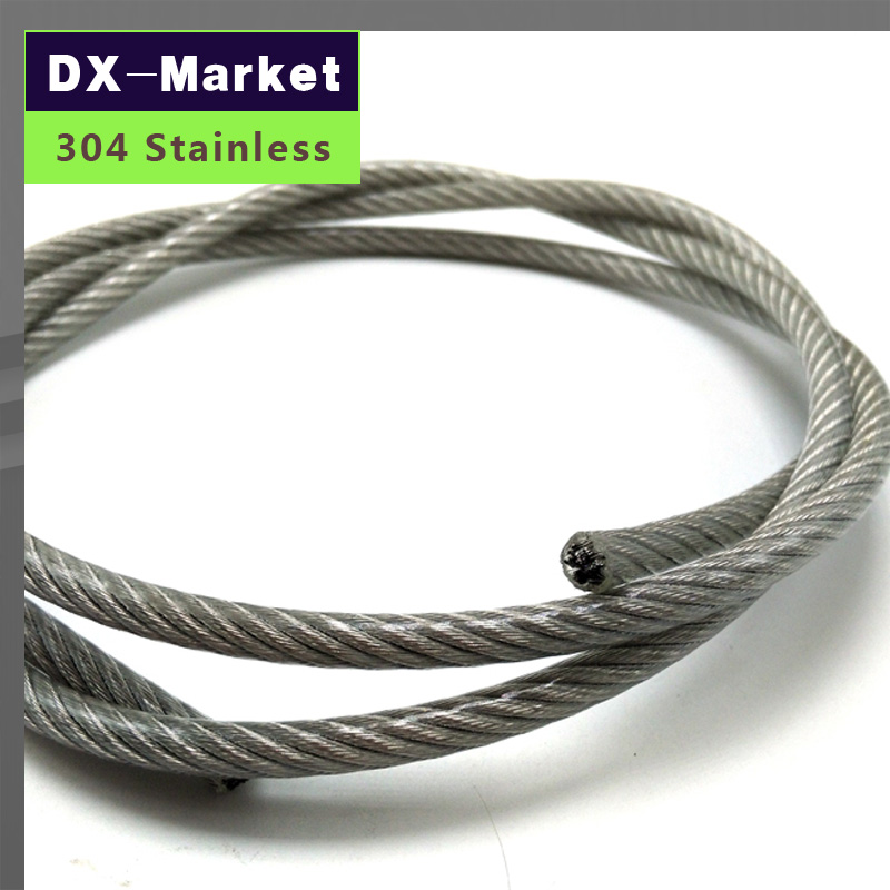 3mm , 30meter/lot , 7*7 , Transparent color Plastic Coating 304 Stainless Steel Wire Rope pulling rope Mold Fishing rope linear displacement sensor pulling wire encoder pulling rope encoder pulling rope sensor