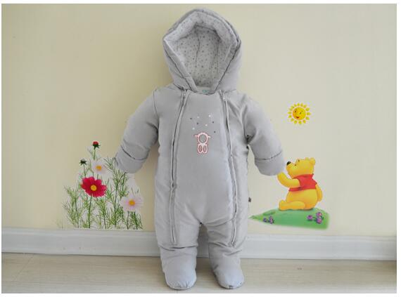 Baby Boys Rompers 2017 Winter Long Sleeve Fleece Thicken Infant Hooded Romper Baby Clothes Kids Keep Warm Outerwear Newborn Grey newborn baby rompers baby clothing 100% cotton infant jumpsuit ropa bebe long sleeve girl boys rompers costumes baby romper