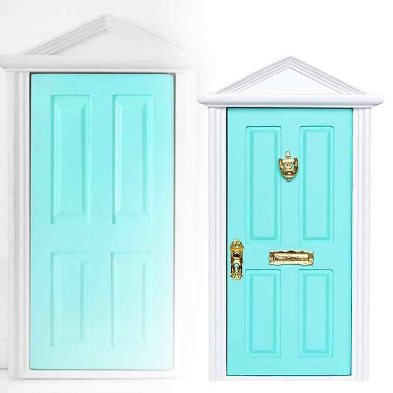 New Arrivals 1:12 Dolls House Miniature Wooden Steepletop Door with Hardware Furniture Toys Dollhouse Decoration Doll Accessory