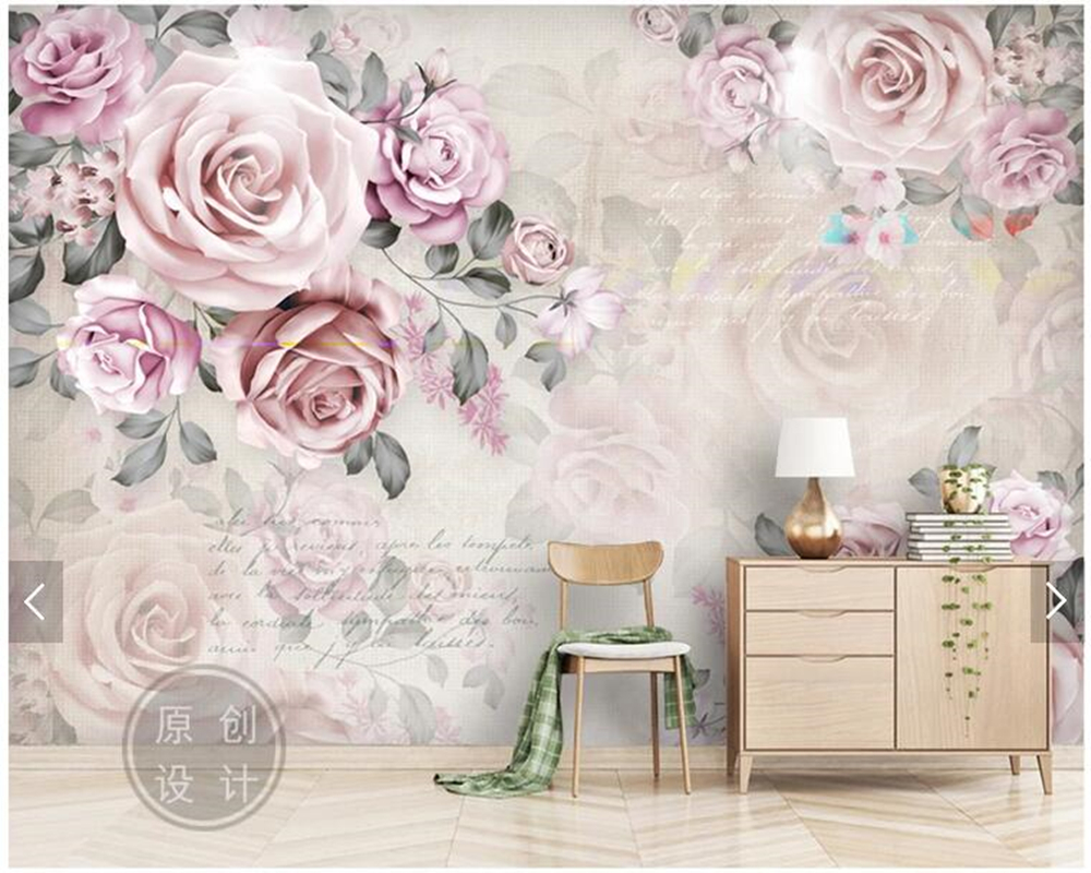 Custom Floral Papel De Parede Vintage Rose Mural For Living Room