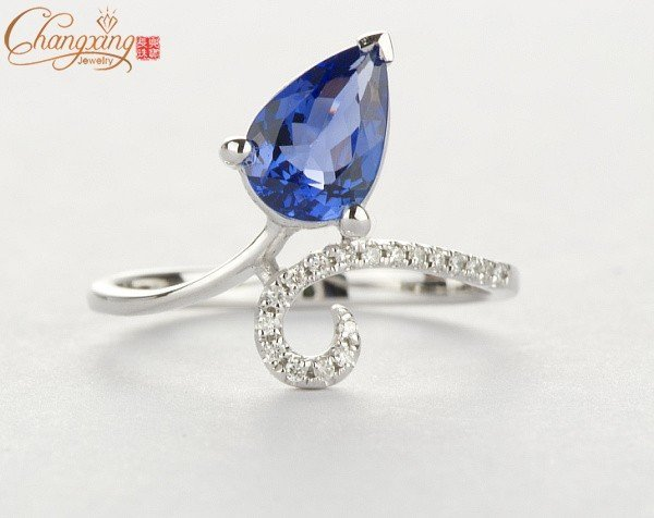 Solid 14K White Gold Natural Diamond & Natural 1.42ct TANZANITE Ring Resizable Gemstone Jewelry Free Shipping