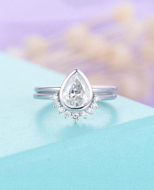 Myray 14k White Gold Pear Shape Moissanite Engagement Ring Set