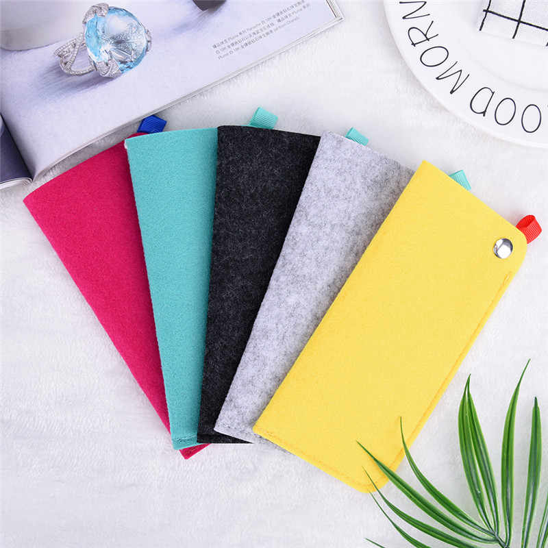 18*9cm Glasses Case Soft Chemical Fiber Felt Cloth Sunglasses Bag Glasses Pouch Eyewear Accessories Color Random