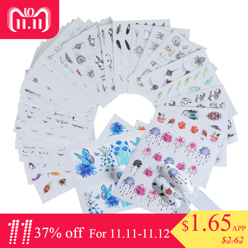 40pcs Nail Sticker Summer Colorful Designs Water Transfer Decals Sets Flower/Feather Nail Art Decor Beauty Tips