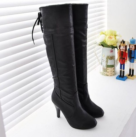 ФОТО Womens Boots Winter 2015 Women Winter Shoes Botas Mujer PU Leather Knee High Boots botte Chaussure Bottines Femmes Zapatos Mujer
