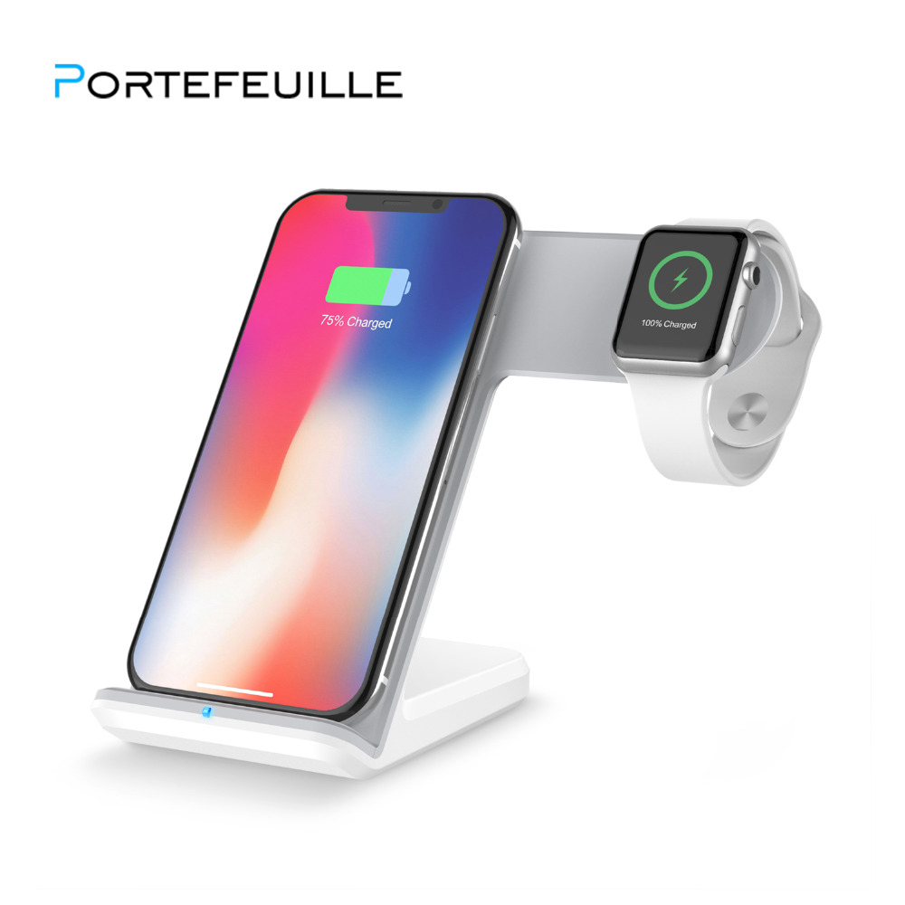 Portefeuille 7.5W Qi Wireless Fast Charger Holder Stand for Apple Watch Redmi iPhone 8 Plus X Samsung Note S9 Induction Charging