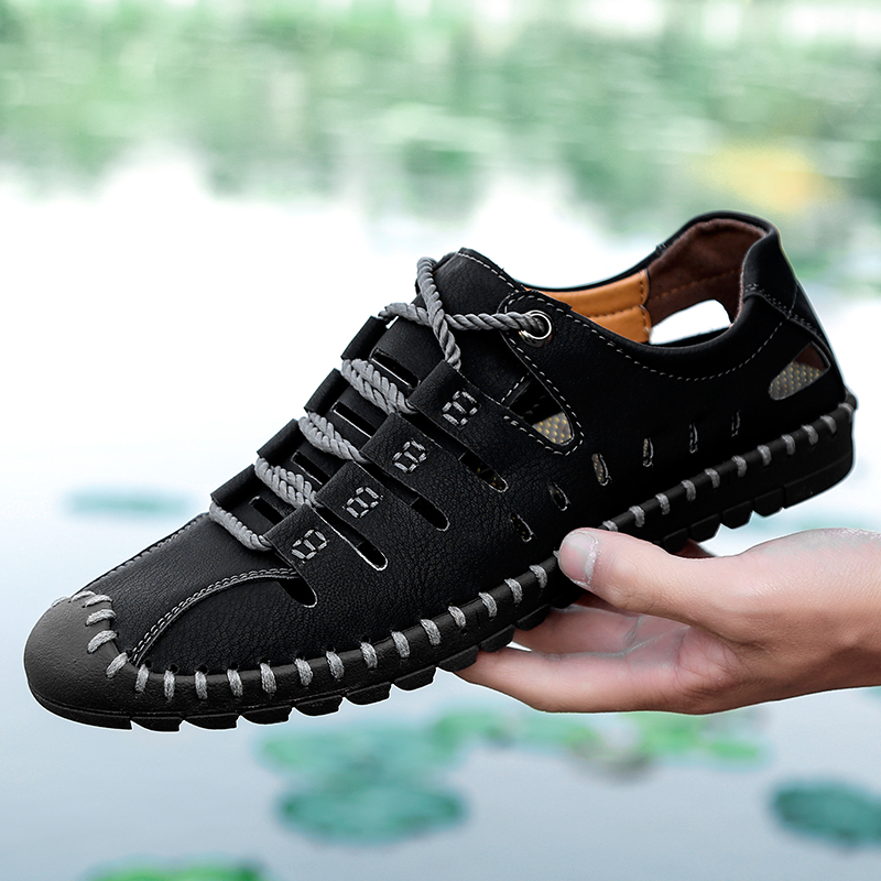 men Moccasins Loafers Shoes outdoor Male Flats Genuine   Leather   Casual Boat lace up breathable Driver Footwear shoes big size 48