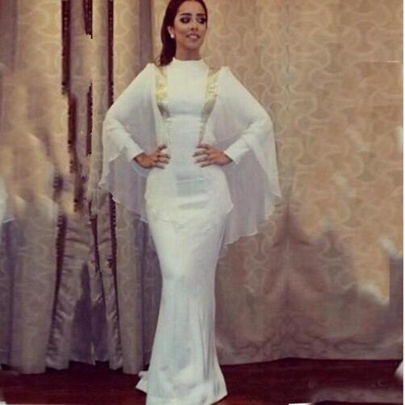 Simple White Abaya Dubai Evening Dresses Arabic Moroccan Kaftan ...