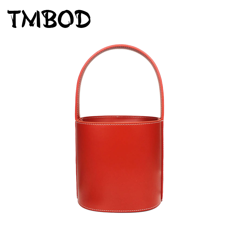 все цены на New 2018 Designer Classic Barrel-shaped Bucket Bag Women Split Leather Handbags Ladies Bag Messenger Bags For Female an869
