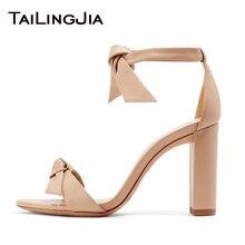 купить Women Square Open Toe Knot Chunky Heel Sandals 2019 High Heel Black Sandals Elegant Nude Heels Ladies Summer Big Size Wholesale по цене 3959.11 рублей