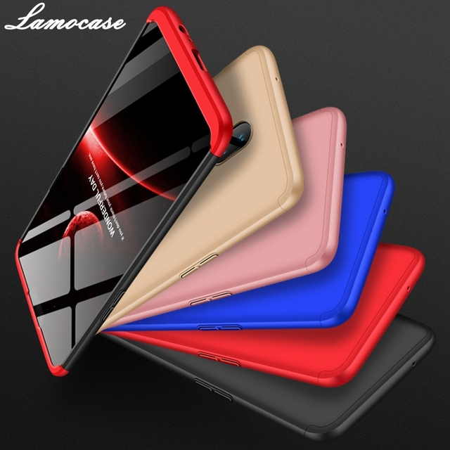 Lamocase Case for Oneplus 6 360 Full Protection Shockproof Matte Comfortable Feel Hard PC 3 In 1 for oneplus6 Cover Free Glass 5