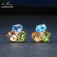 Lamoon 3 шт. 3ct Овальный Желтый цитрин Зеленый Перидот Голубой топаз 925 стерлингового серебра--Jewelry Серьги S925 LMEI037