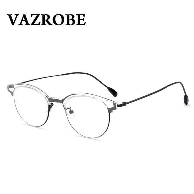 232e3cbe36 placeholder Vazrobe Vintage Eyeglasses Frame Men Women Retro Round Oval  EyeGlasse for Female Small Face Half Rim