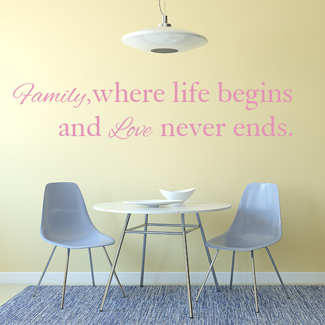 Family Love Life Quote Wall Sticker Family Life Begins Love Never - Wall decals about family