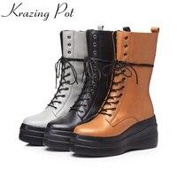 Krazing Pot vintage cow leather winter high heels wedges round toe platform knee rivets decoration designer mild-calf boots L92