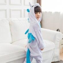 Blauw dier Eenhoorn Cosplay Kostuum Pyjama halloween Unisex Jongen Meisje  Kinderen Pyjama Onesie Kids Pijama 12bfee57e