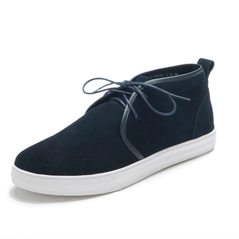 Man Cow Suede Boots 2016 Spring Italian Fashion Casual Black/Blue Lace-up Genuine Leather Ankle Boots For Mens Work Rubber Shoe
