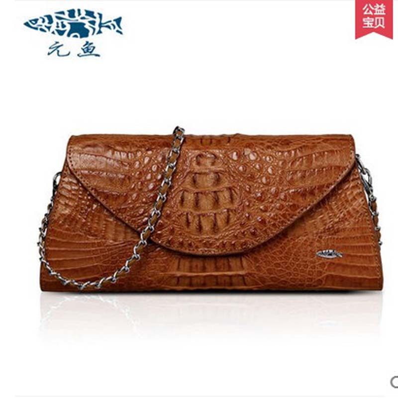 yuanyu Thai real crocodile women handbag new imported leather hand bag small single shoulder bag  women chain bag yuanyu real snake skin women bag new decorative pattern women chain bag fashion inclined single shoulder women bag