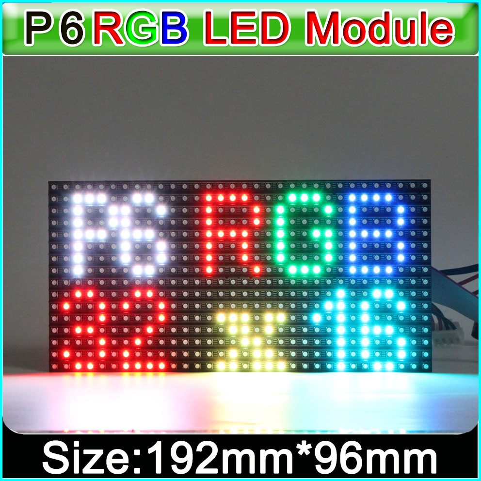 P6 SMD Indoor Full Color LED Display Module,SMD 3in1 RGB P6 *** LED Display Video Module, Constant Driving 1/8 Scan,192*96mm