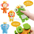2016 Novo Brinquedo Do Banho Float animal dos desenhos animados de Borracha Macia brinquedos para o bebê kid Educacional brinquedos da praia/brinquedo Espremer-som Dabbling Toy 4 estilo