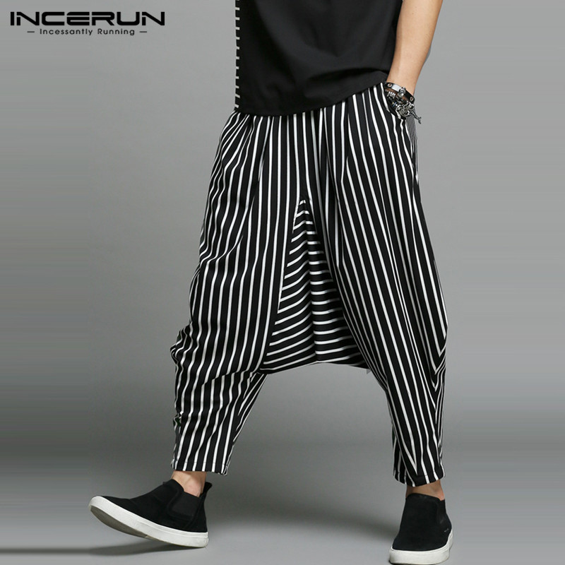 INCERUN 2020 Men Stripe Harem Pants Loose Elastic Waist Joggers Trousers Men Big Crotch Hip-hop Streetwear Pantalon Hombre S-5XL
