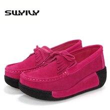 Кожа кисточкой Для женщин Тонизирующая обувь увеличивающая рост Обувь для танцев толстой подошве танкетке для похудения Обувь Демисезонный Женская комфортная обувь