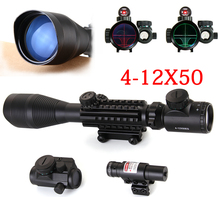 4-12X50 EG Tactical Rifle Scope Mount Fit For 20mm Rail Holographic Dot Sightt + Red Laser free shiping